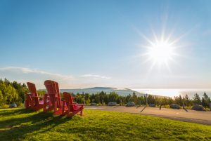 Red chairs lookoff with a beautiful view of Fundy