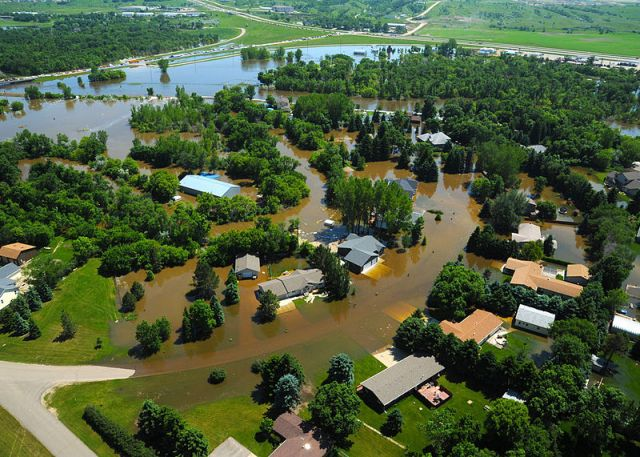 Aerial view of flooding in a Minot, N.D. residential area
